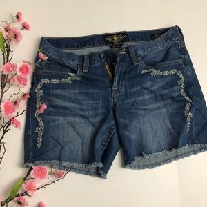 Lucky Brand Abby Short Embroidered jean shorts